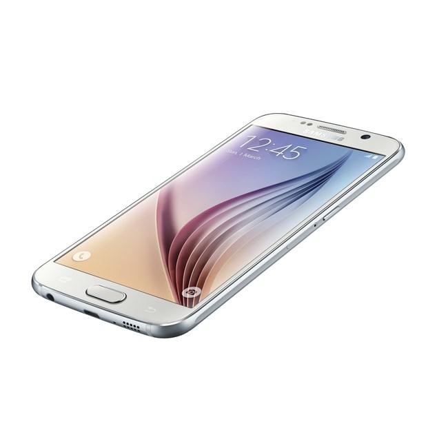 Samsung Galaxy S6 color blanco pantalla recostado