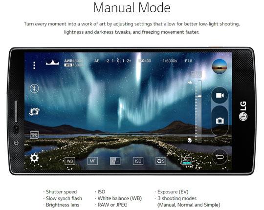 LG G4 modo manual