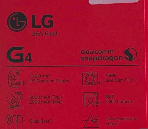 Parte posterior de caja LG G4