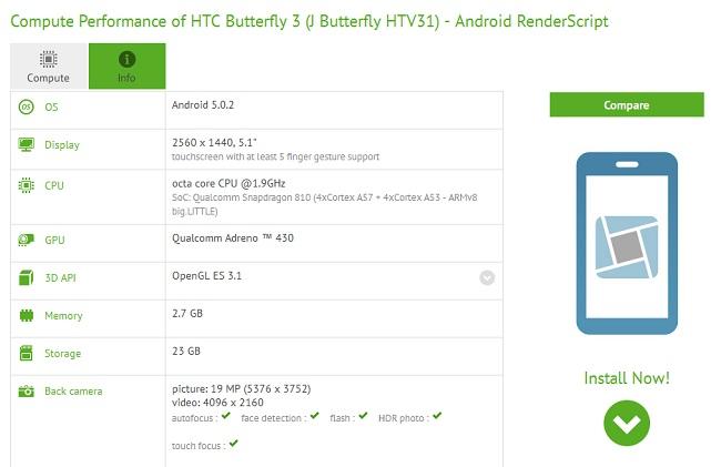 HTC Butterfly 3 especificaciones