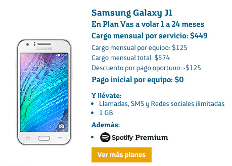 Samsung Galaxy J1 en plan Movistar Vas a volar 1