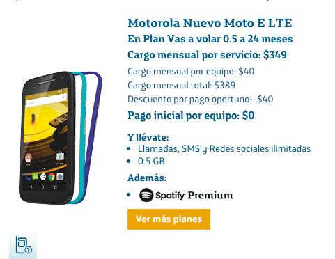 Motorola Moto E LTE 2015 en México con Movistar Plan vas a volar 0.5