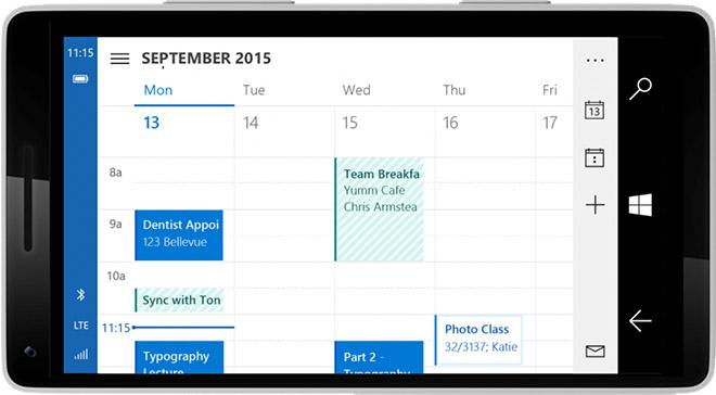 Windows 10 interfaz calendario