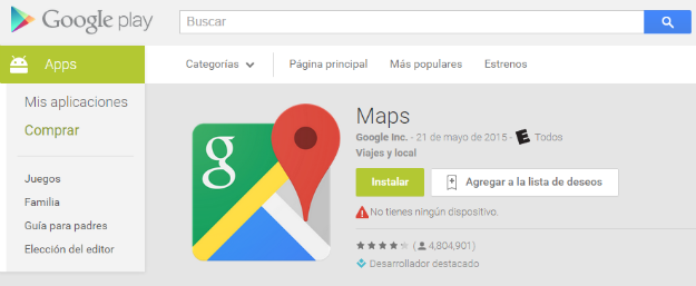 Google Maps en Google Play