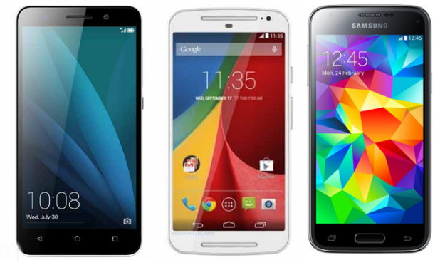 Honor X, Moto G 2a generación y Galaxy S5 mini