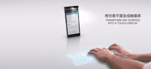 Lenovo smartphone con proyector, mesa