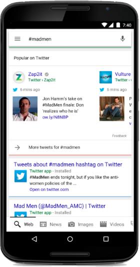 Tuits de Twitter en resultados de Google
