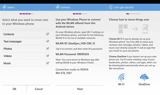 Switch to Windows Phone en Android