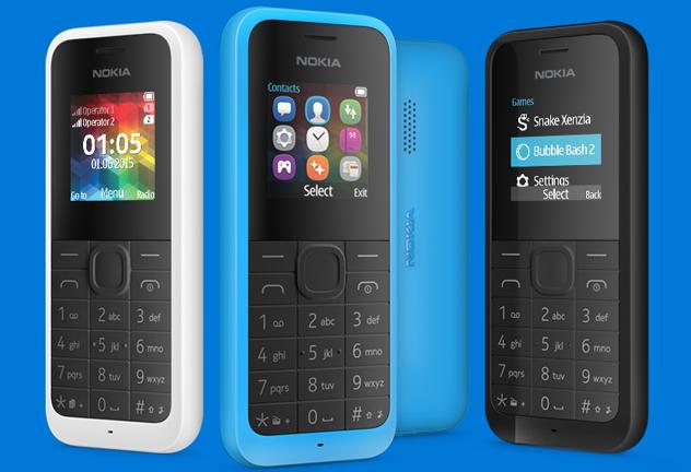 Nokia 105 pantalla y reverso