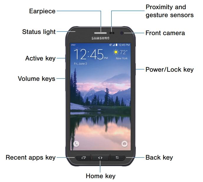 Samsung Galaxy S6 Active AT&T elementos frente