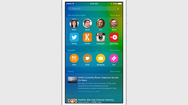 Apple iOS 9 Spotlight interfaz