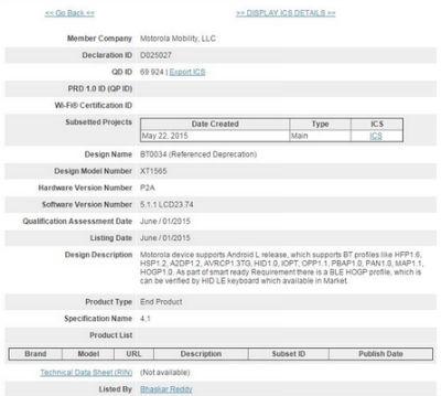 Certificación Bluetooth nuevo Motorola