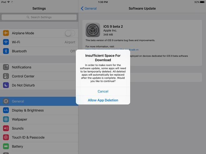 iOS 9 Notificación espacio insuficiente