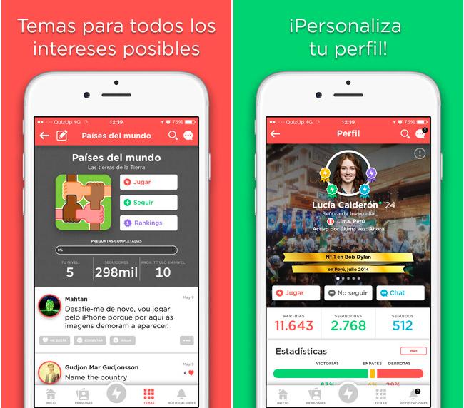 QuizUp juego de trivias en iPhone