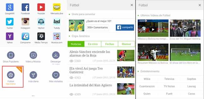 UC Browser Copa América en Android