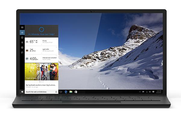 Windows 10 con Cortana en las computadoras