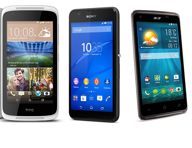 Comparación Sony Xperia E4G, Acer Z410 y HTC 526G en México con Telcel