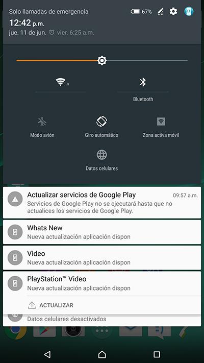 Sony Xperia Z Ultra en México con Telcel Android Lollipop Nuevo panel de notificaciones