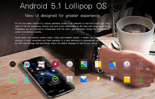Doogee  F3 Pro Android 5.1 Lollipop con interfaz nueva