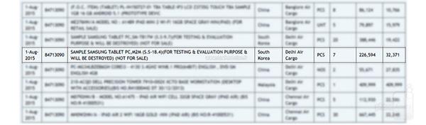 Registro de tablet de Samsung con 18.4 pulgadas