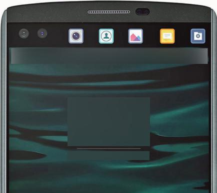 LG V10 doble pantalla frontal con accesos directos detalle