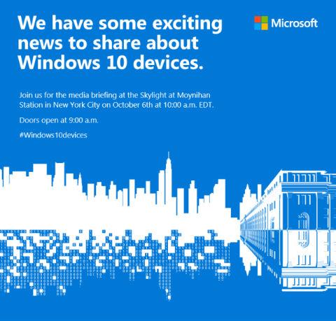 Microsoft evento 6 de octubre invitación