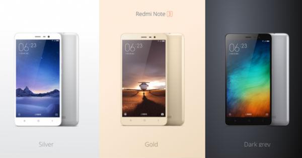 Xiaomi Redmi Note 3 colores