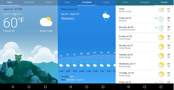 Google clima en Android
