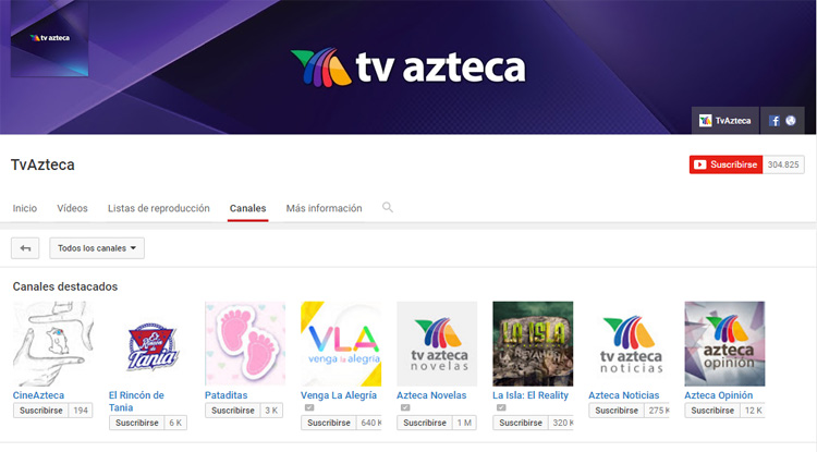 Tv Azteca en YouTube