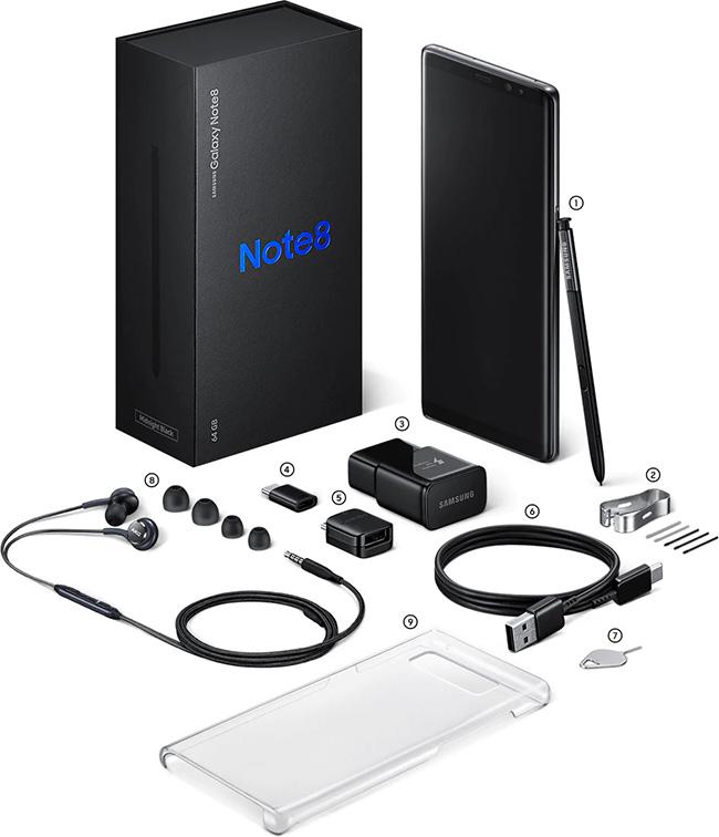 Samsung Galaxy Note 8 en México, accesorios y contenido de la caja