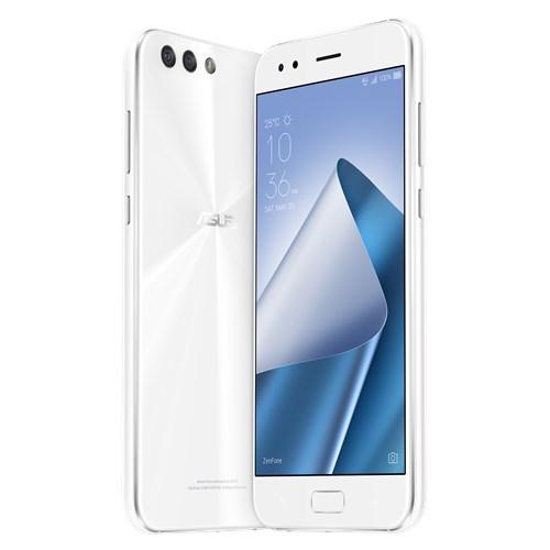 ASUS Zenfone 4 en México pantalla brillante y cámara dual trasera color blanco de  perfil y posterior