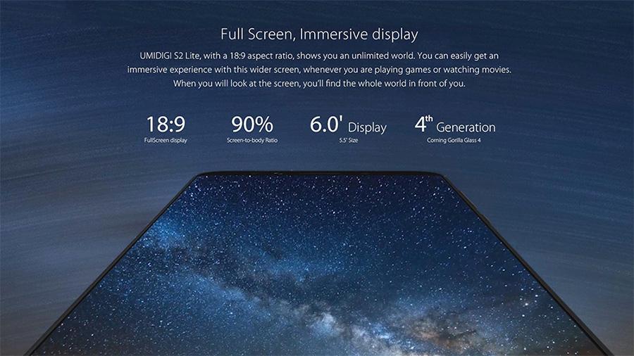 UMIDIGI S2 Lite características pantalla 6 a 18:9