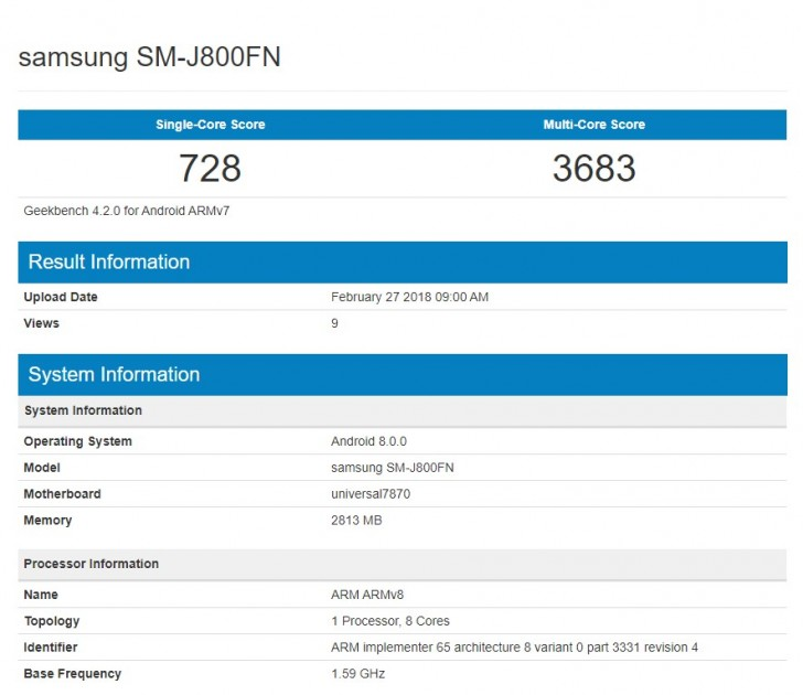 Galaxy J8 Geekbench