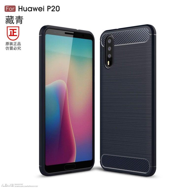 Huawei P20 render de cubierta con triple cámara posterior