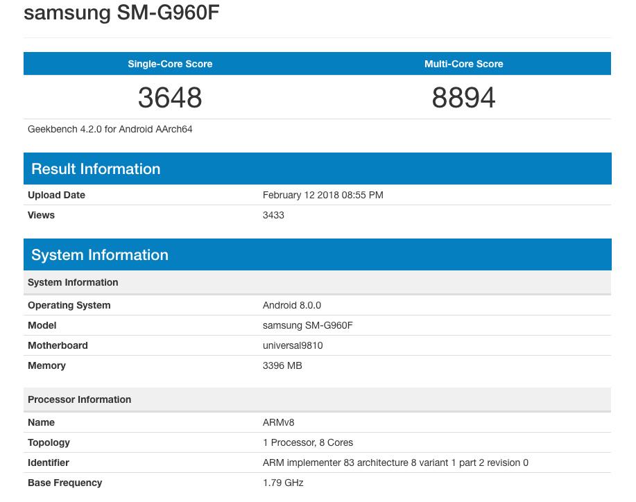 Resultados en Geekbench del Galaxy S9 con Exynos