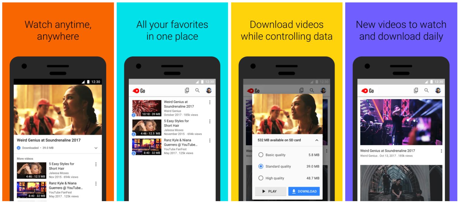 Youtube Go app opciones