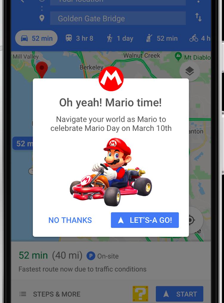 Super Mario Kart en Google Maps