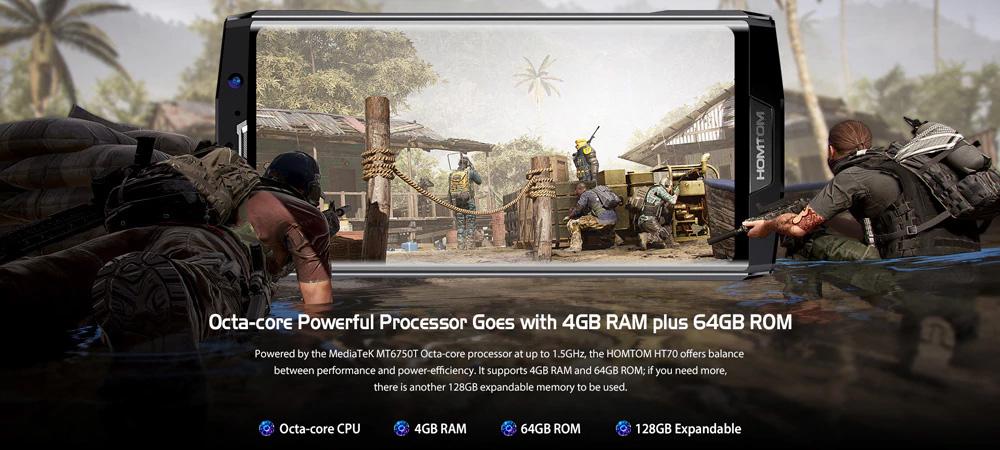 HOMTOM HT70 4G - Procesador Octa Core, 4 GB en RAM y 64 GB en ROM