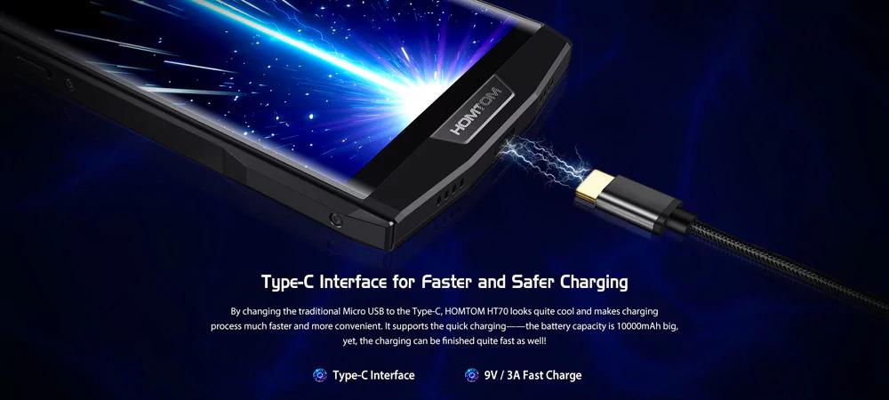 HOMTOM HT70 4G - USB Type C con carga rápida
