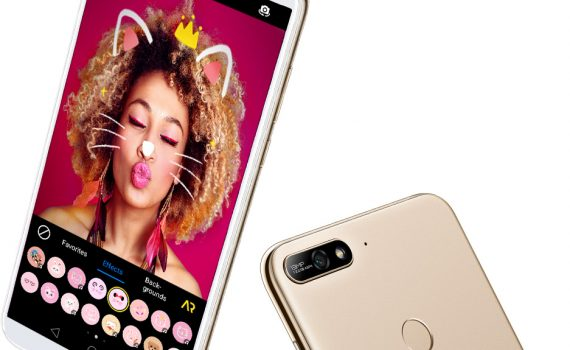 Huawei Y7 2018 pantalla y cámara en color blanco con oro