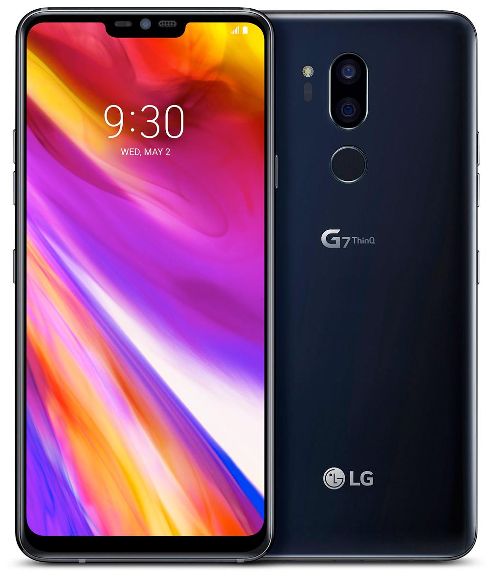 LG G7 ThinQ foto oficial mostrando pantalla tipo notch y cámara posterior dual, lector de huellas y enfoque láser