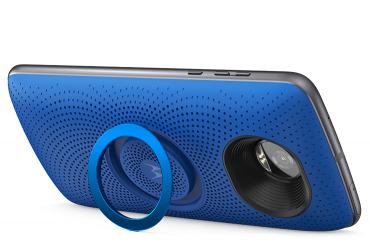 Moto Stereo Speaker de Motorola color azul y su kickstand