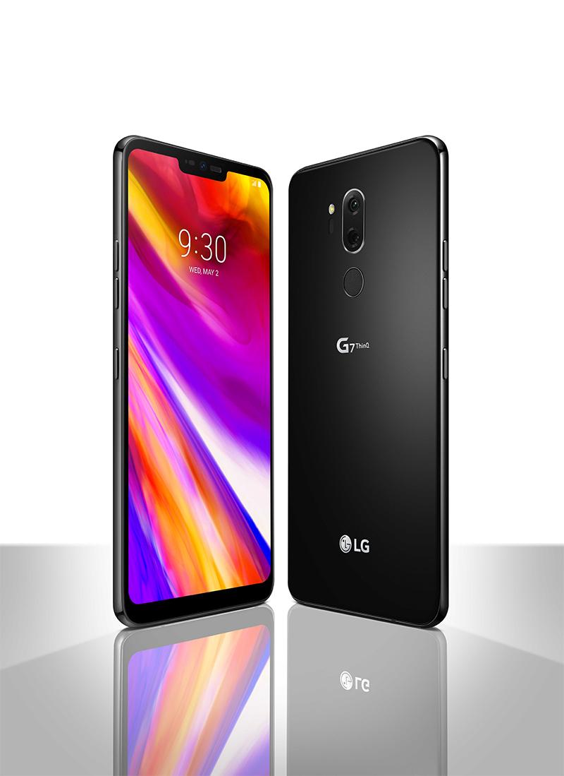 LG G7 ThinQ en color negro pantalla con notch y cámara Dual - diseño exterior ultra delgado y moderno