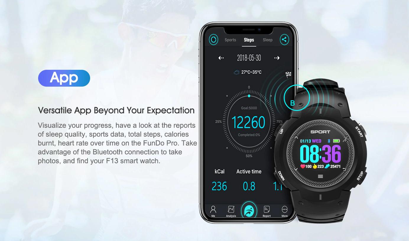 NO.1 F13 smartwatch para deportes resistente al agua y polvo - con App para smartphones