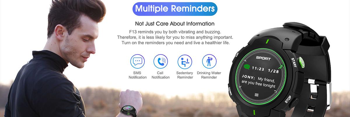 NO.1 F13 smartwatch para deportes resistente al agua y polvo - Múltiples recordatorios