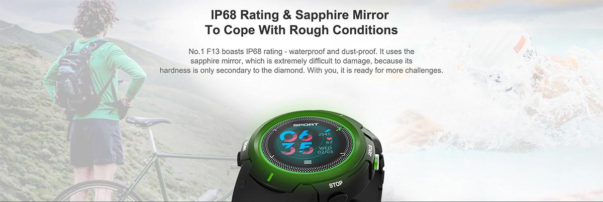 NO.1 F13 smartwatch para deportes resistente al agua y polvo - Certificación IP68