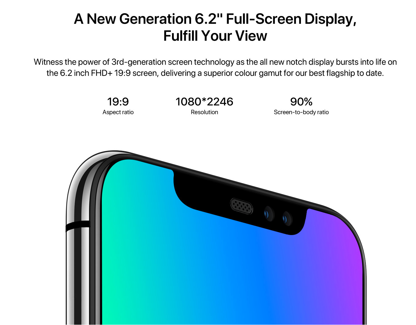 UMIDIGI Z2 pantalla FHD+ notch 90% de amplitud