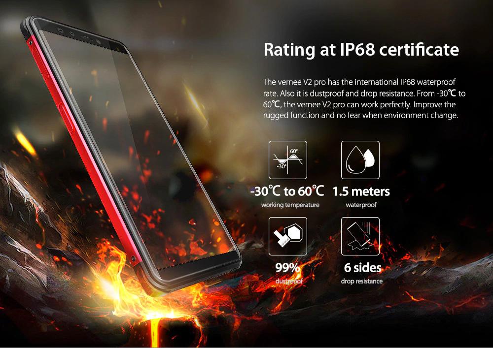 Vernee V2 Pro resistente al agua y polvo IP68, además a golpes y temperaturas extremas