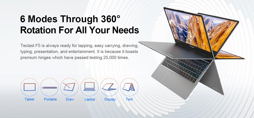 Teclast F5 360 laptop con 8 GB en RAM a precio accesible