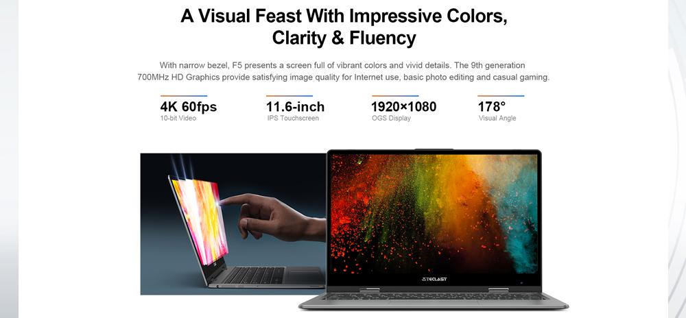 Teclast F5 360 laptop con 8 GB en RAM a precio accesible - pantalla IPS de alta resolución